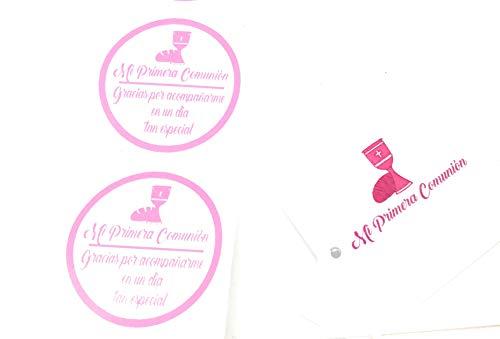 50 Etiquetas rosas adhesivas + 50 Tarjetas para detalle de Primera Comunión