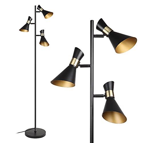 Lámpara de pie estilo I 3 luces,Giratoria,Lámpara de lectura,retro negro-dorado,E14 Moderna lámpara pie para salón dormitorio, oficina,Interruptor de pie|Altura 1668mm I Métalica