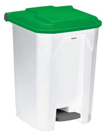 Poubelle à pédale Utilo - 50l - blanc/vert