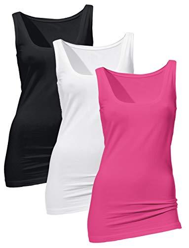 Débardeur Long Rose Noir Blanc Femme en Coton Élastique Lot de 3 Tank Top de Sport Yoga Pilate Zumba Fitness Noir+Blanc+Rose Vif Small