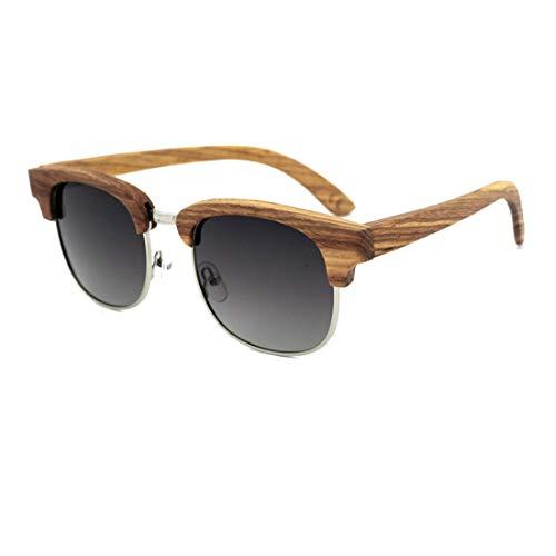 WDSFT Personalidad Semi-sin Montura de Las Gafas de Sol de Estilo Artesanal Cebra de Madera de la Lente Color protección UV400 Unisex-Adulto (Color : Grey)