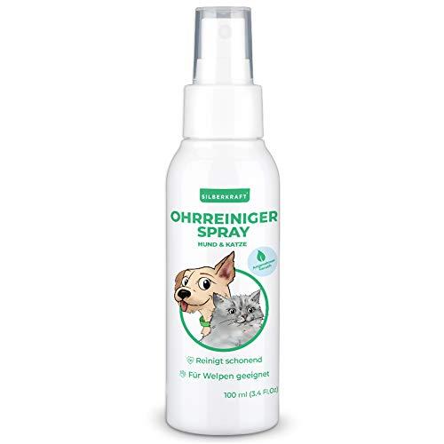 Silberkraft - Limpiador de orejas para perros y gatos, 100 ml, con extracto de manzanilla, limpia suavemente y suave, alivia el picor y es adecuado para cachorros