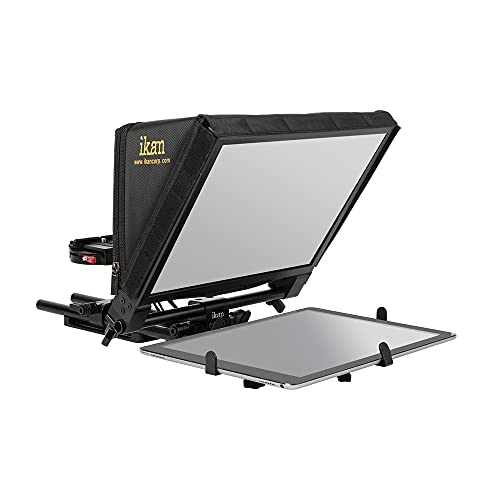 Ikan Elite Universal Large Tablet Teleprompter for Surface Pro & Ipad Pro, Beam Splitter 70/30 Glass (PT-Elite-PRO) - Black