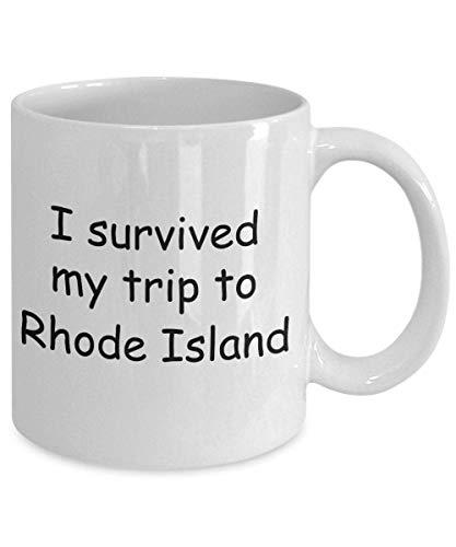 N\A Rhode Island Mugs Souvenirs - sobreviví mi Viaje a Rhode Island - Taza de café con Leche Taza de té de Regalo de 11 oz