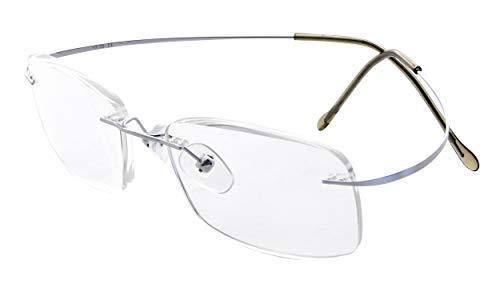 Eyekepper Gafas de lectura de tiranio marco sin borde para mujeres o hombres plata +0.5