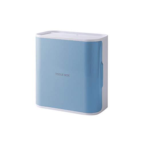 Honton Soporte para rollos de papel higiénico para pared dispensador toallas papel suave impermeable prueba humedad con 2 cajones servilleta adhesiva para cocina baño 21,1 x 13 x 20,7 cm azul