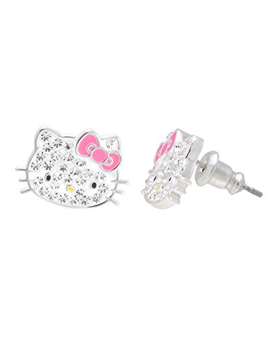 Hello Kitty Jewelry, Hello Kitty Silver Plated Clear Crystal Stud Earrings