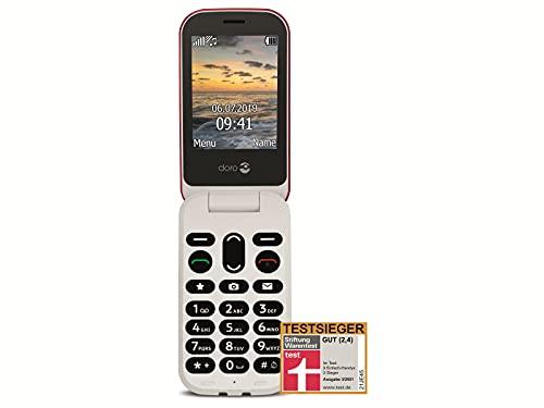 Doro 6040 Teléfono Móvil 2G con Tapa para Mayores con Teclas Grandes, Botón SOS con Geolocalización y Base de Carga [Versión Española y Portuguesa] (Rojo)