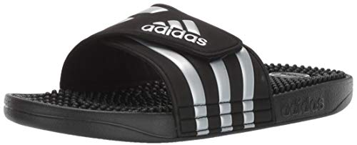 adidas Women's Adissage Slides, Black/Silver Metallic/Black, 8 M US