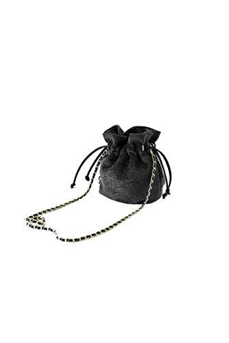 Ulisty Damen Samt Kordelzug Klein Beuteltasche Mini Eimer Tasche Schultertasche Handtasche Umhängetasche schwarz