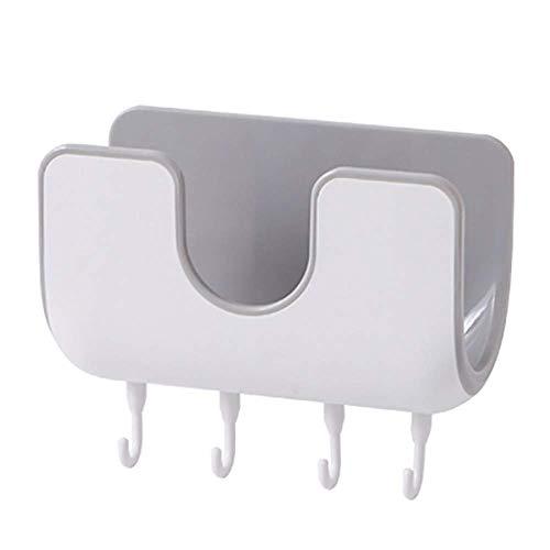 Self Adhesive Pot Lid Holder Pot Bar Rack Wall Mounted with Four Hooks Pot Pan Plate Lid Kitchenware Storage Display Organizer (Gray)