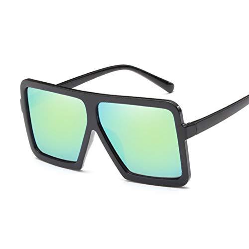 AleXanDer1 Gafas de Sol Moda Gafas de Sol de Gran tamaño Mujeres diseño Cuadrado Negro Damas Gafas de Sol plástico Colorido Espejo (Lenses Color : BlackGold)