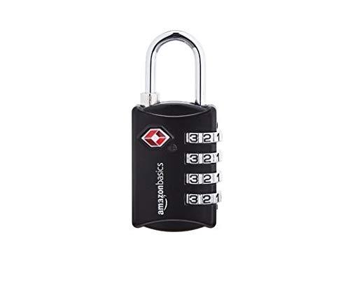 AmazonBasics – Kabel-Zahlenschloss, TSA-genehmigt, 4-stellig, 6 Stück, schwarz