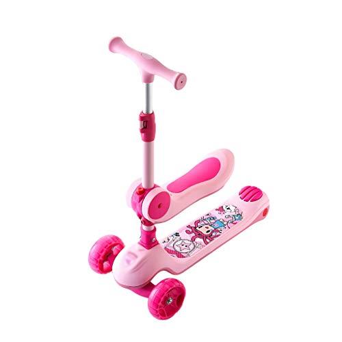 Patinete 2 En 1 Scooter Niño con Asiento Extraíble 3 Rueda Scooter Ajustable Altura para Niños y Niñas de 2 a 14 Años (Color : Pink)