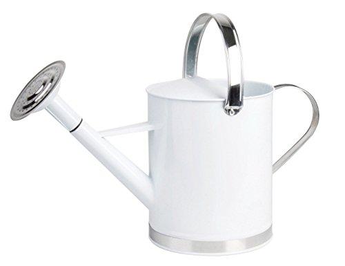 Esschert Design Gießkanne, Wasserkanne mit 2 Griffen in weiß, 5 Liter, ca. 44 cm x 19 cm x 26 cm
