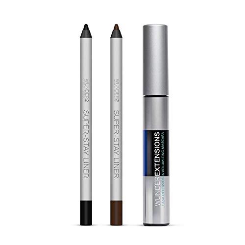 WUNDER2 SUPER-STAY Eyes Gift Set #2 For Women Mascara, Black Eyeliner, Brown Eyeliner, Long Lasting Cruelty Free Makeup
