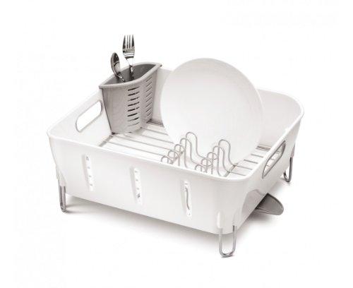 Simplehuman KT1104 - Recipiente organizador para lavabo, acero inoxidable, color blanco