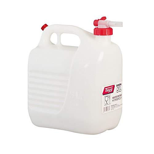 Tayg 601361 líquidos 5 litros con Grifo, Blanco, Bidón 5L