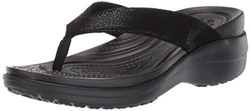 Crocs Capri MetallicTxt Wedge Flip W, Zuecos para Mujer, Negro (Black/Black 060b), 42/43 EU