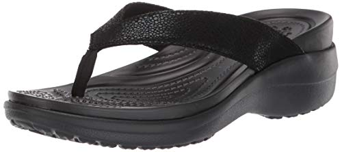Crocs Damen Capri Metallictxt Wedge Flip W Clogs, Schwarz (Black/Black 060b), 39/40 EU