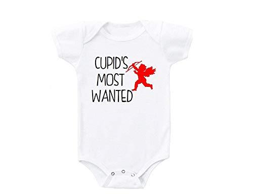 Promini Cupido s Most Wanted Red Heart Día de San Valentín lindo divertido bebé mono regalo novedad camiseta disfraz bebé mono bebé Blanco blanco 9 mes