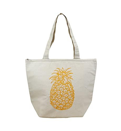 ハワイアン 保温保冷バッグ トートバッグ ハワイ バッグ パイナップル maka hou ハワイアン雑貨 ハワイ (ナチュラル)