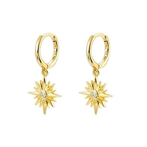 Anillo de plata de ley 925 para mujer, Europa América y América linda estrella de lujo piercing g Earin joyería -E1