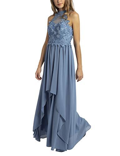 APART Bezauberndes Damen Kleid, Abendkleid, amerikanischer Ausschnitt, Oberteil aus Spitze und Mesh, weiter Chiffonrock, hellblau, 40