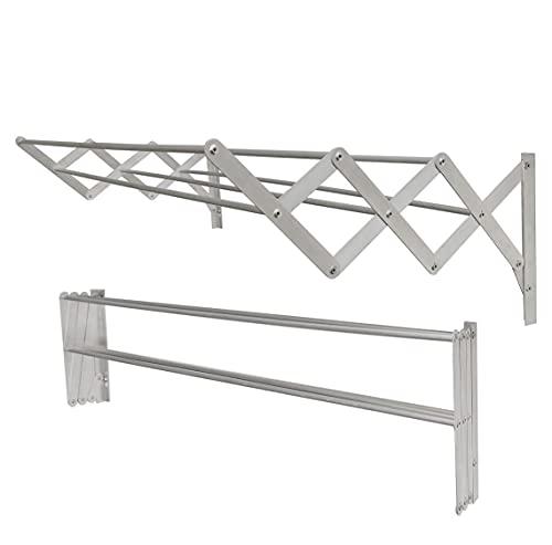 Tendedero de Pared Extensible de Aluminio para Exterior y Interior, Compacto y práctico (4,8 Metros / 80cm)