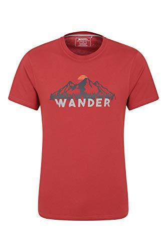 Mountain Warehouse Theme Graph Mens T-Shirt - Lightweight Tee, Breathable T-Shirt, Quality Print - Best for Outdoor, Sports, Camping & Hiking Burgundy XL