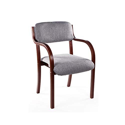 LJZslhei Stuhl Esszimmerstuhl Einfacher Schreibtischstuhl Armlehnenstuhl Computerstuhl Kreativer Holzstuhl Graues Kissen (Color : Brown)