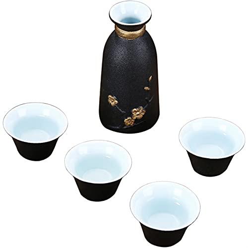 HQQ Japonés Cerámica Antigua Cerámica Negra Sake Set Set de Regalo Home 1x Hip Frask 4X Copa