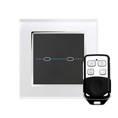Retrotouch RTS2020 Designer-lichtschakelaar 2-voudig touch-enkele schakeling met afstandsbediening wit