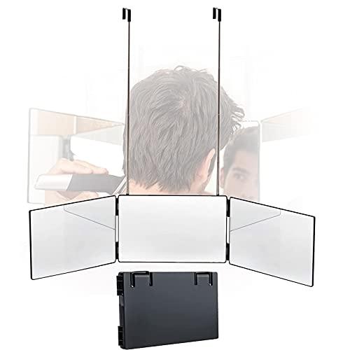 EUNEWR 360 Spiegel Haare schneiden,DREI Seiten Spiegel zum Selbstschneiden,3-Wege-Spiegel zum Selbstschneiden,Höhenverstellbarer Hängespiegel,360° Friseurspiegel zum Rasieren,Haarstyling,Haare färben