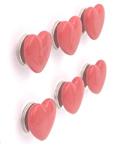 THDC Heart Shape Ceramic Knob, Cabinet Knob, Drawer Knob, Dresser Knob, Handmade, Baby Kid's, Boy, Girls (Set Of 6) (Red)