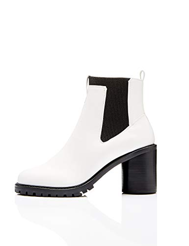 find. Chunky Chelsea Boots, Weiß White), 38 EU