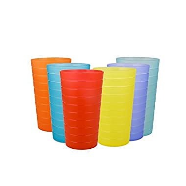 AYT Plastic Tumblers Drinking Glasses Set of 12 | Break Resistant 22 oz Plastic Cups | 6 Assorted Colors Restaurant Quality | BPA Free By