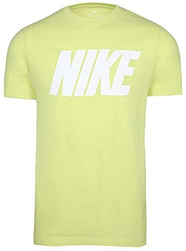 Nike Men's Block Graphic Logo Sport Casual Tee (Lime Light, Medium)
