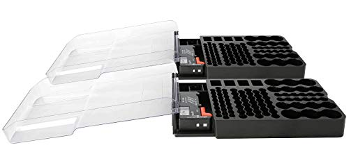 tka Köbele Akkutechnik Batteriehalter: 2er-Set 2in1-Batterie-Organizer für jeweils 93 Batterien (Batteriebox)