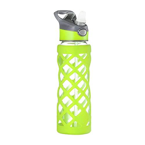 Swig Savvy Glas Wasserflasche - Schutz-Silikon-Hülle mit 3 auswechselbaren Leck-Sicheren-Verschlußn. Schlank, langlebig & stilvoll - Pba-Frei- Bruchsicher Borosilicatglas 1er Paket Grün