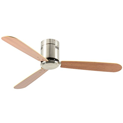 Andersonlight 52-in Brushed Nickel Flush Mount Indoor Ceiling Fan with Remote...