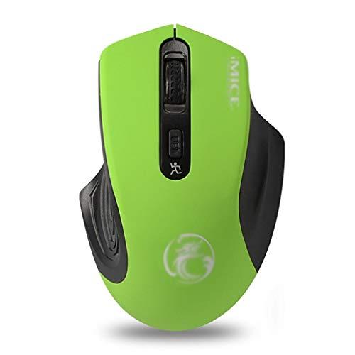 Ratones Ratón Inalámbrico para Juegos, Ratones de Ordenador LED Ergonómicos USB de 2,4 GHz, 3 dpi Ajustables, 4 Botones, Compatible con PC, Laptop, Notebook, Desktop Mouse (Color : Green)
