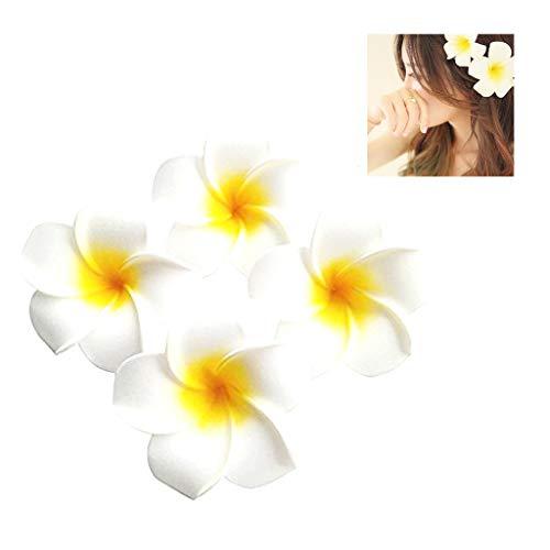 Hawaii Haarklammer, Plumeria Blume Haarspange,10 Packungen 6,9 Cm Frangipani Haarspange ZubehöR Braut Hochzeit Party Beach Holiday Hawaiian Plumeria Blume Haarklammer(Weiß)