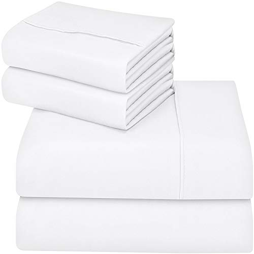 Utopia Bedding Bed Sheet Set - Brushed Microfiber 4 Piece Queen Bedding - Shrinkage & Fade Resistant - Soft Sheets - Easy Care (Queen, White)