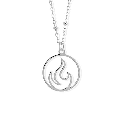 Boma Jewelry Sterling Silver Fire Flame Element Circle Pendant Necklace, 18 Inches