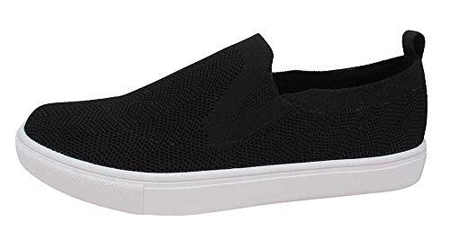 Jellypop Women's Training Slip On Sneaker, Black Knitted, 7.5