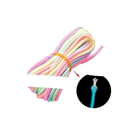 Pulsera de Paracord arcoíris de luz de 3 mm, Cuerda de macramé, Cuerda Artesanal, Cuerda para Bricolaje, Llavero con cordón, Cuerda para Tender la Ropa, 20 pies (6 Metros)