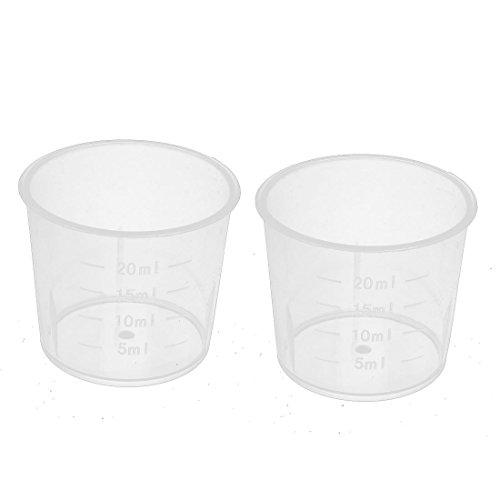 uxcell 計量カップ プラスチックカップ クリア 容量20ml 38 x 33mm 2枚入り