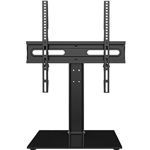 Universal Drehenbar TV-Ständer - Arbeitsfläche TV-Ständer für 27-55 Zoll LCD-LED-TV - höhenverstellbarer TV-Ständer mit gehärtetem Glasfuß und Drahtführung, VESA 400x400mm HT06B-002