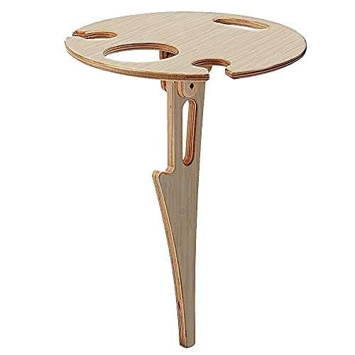 Mesa de Vino Portátil al Aire Libre, Speyang Outdoor Wine Table, Mini Mesa de Picnic, Wine Glass Holder, Mesa de Picnic Madera Plegable, Mini Mesa Plegable